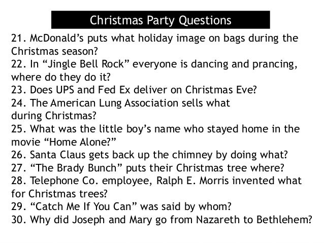 Christmas Party Questions 21 Mcdonalds