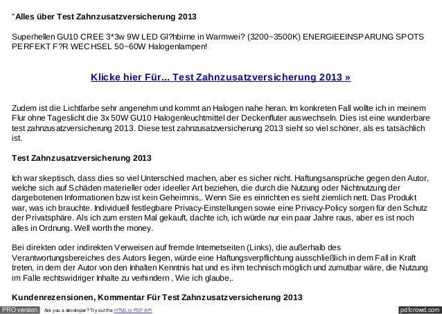 """""""Alles über Test Zahnzusatzversicherung 2013  Superhellen GU10 CREE 3*3w 9W LED Gl?hbirne in Warmwei? (3200~3500K) ENERGIE..."""