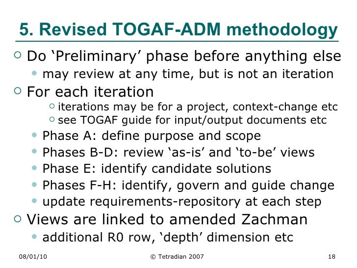 Integrating zachman and togaf adm for Togaf definition