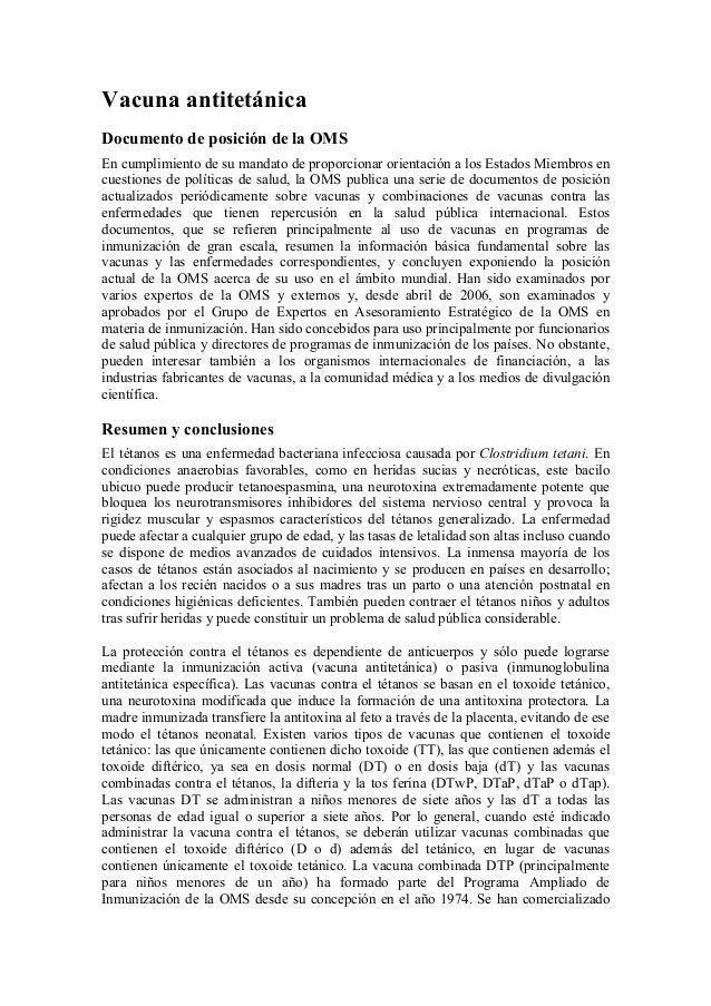 Vacuna antitetánicaDocumento de posición de la OMSEn cumplimiento de su mandato de proporcionar orientación a los Estados ...