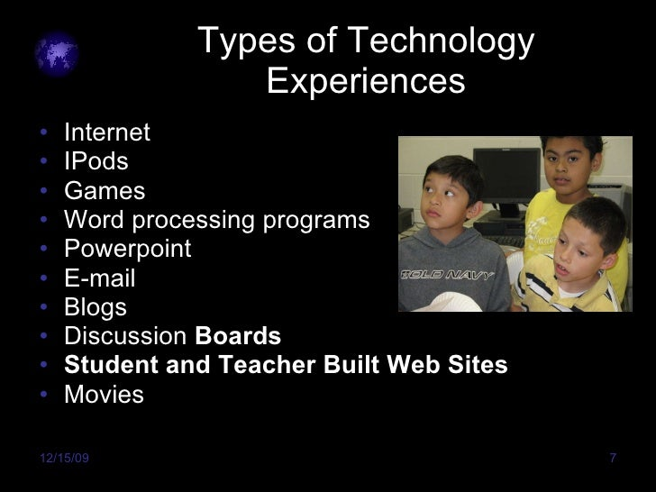 Types of Technology Experiences <ul><li>Internet </li></ul><ul><li>IPods </li></ul><ul><li>Games </li></ul><ul><li>Word pr...