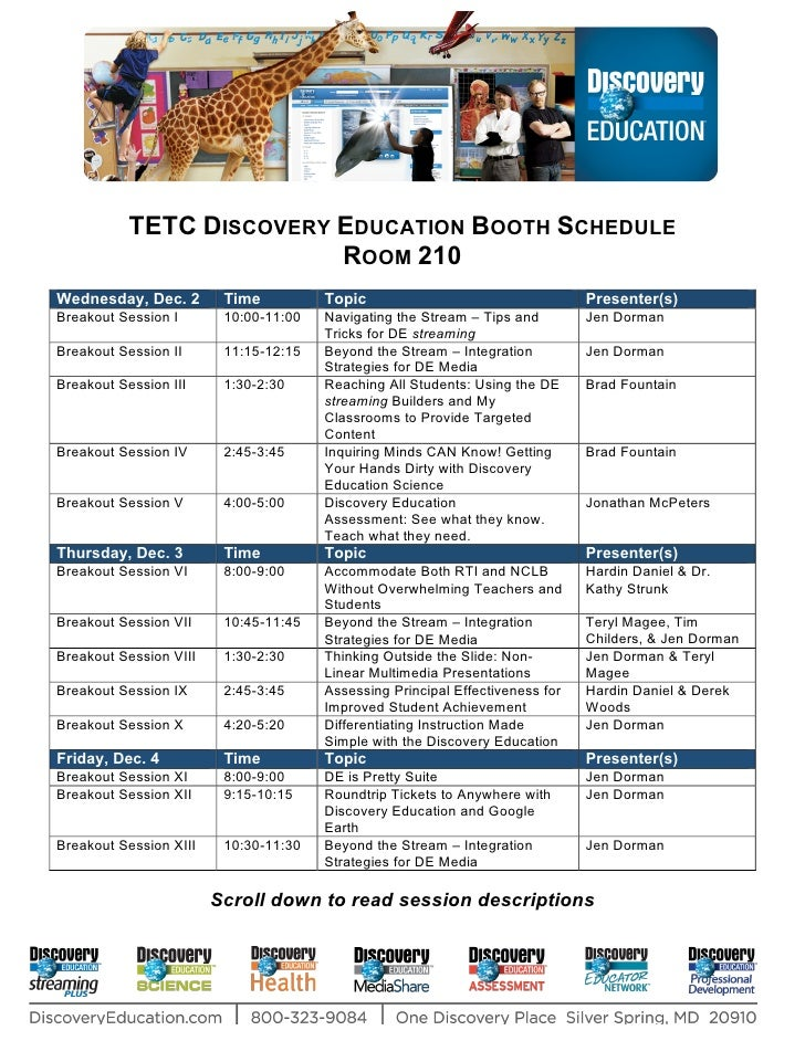 TETC DISCOVERY EDUCATION BOOTH SCHEDULE                           ROOM 210 Wednesday, Dec. 2        Time          Topic   ...