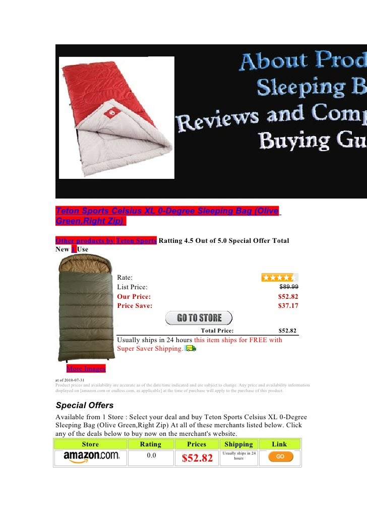 Teton Sports Celsius XL 0-Degree Sleeping Bag (Olive Green,Right Zip)  Other products by Teton Sports Ratting 4.5 Out of 5...