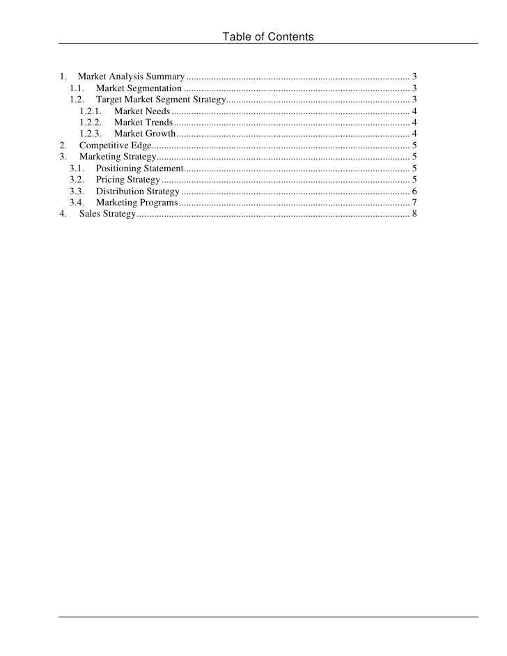 Teton valley recycling llc marketing plan - Marketing plan table of contents ...
