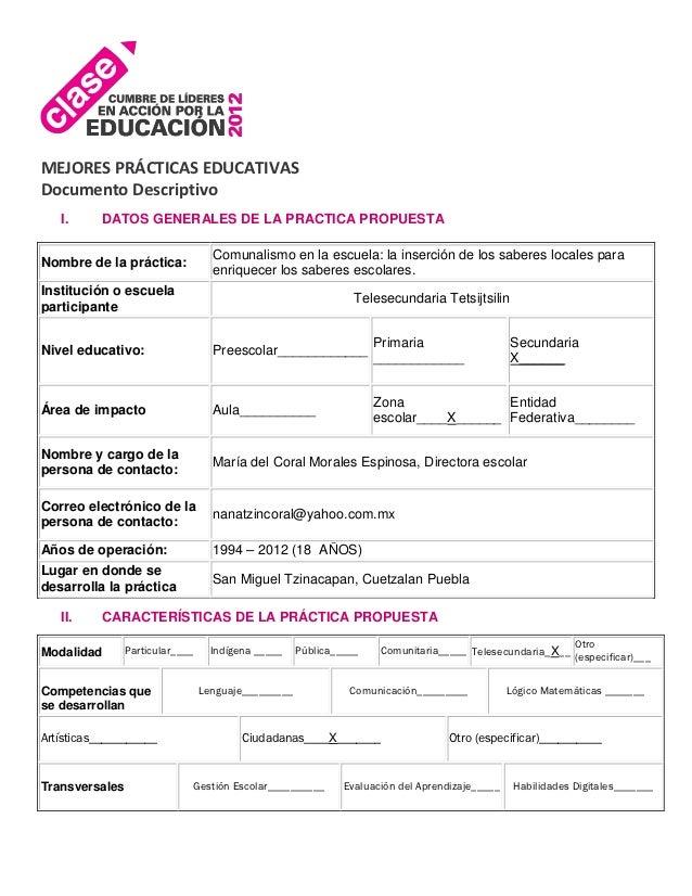 MEJORES PRÁCTICAS EDUCATIVASDocumento Descriptivo   I.      DATOS GENERALES DE LA PRACTICA PROPUESTA                      ...