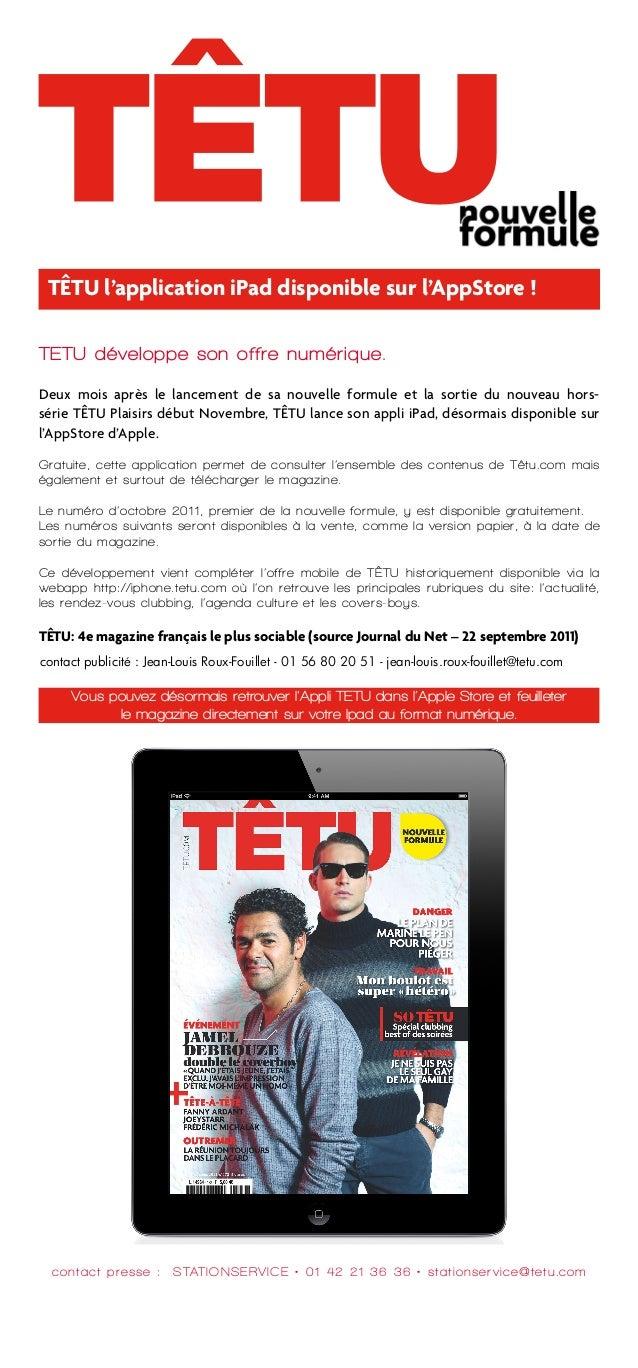 TÊTU l'application iPad disponible sur l'AppStore !TETU développe son offre numérique.Deux mois après le lancement de sa n...