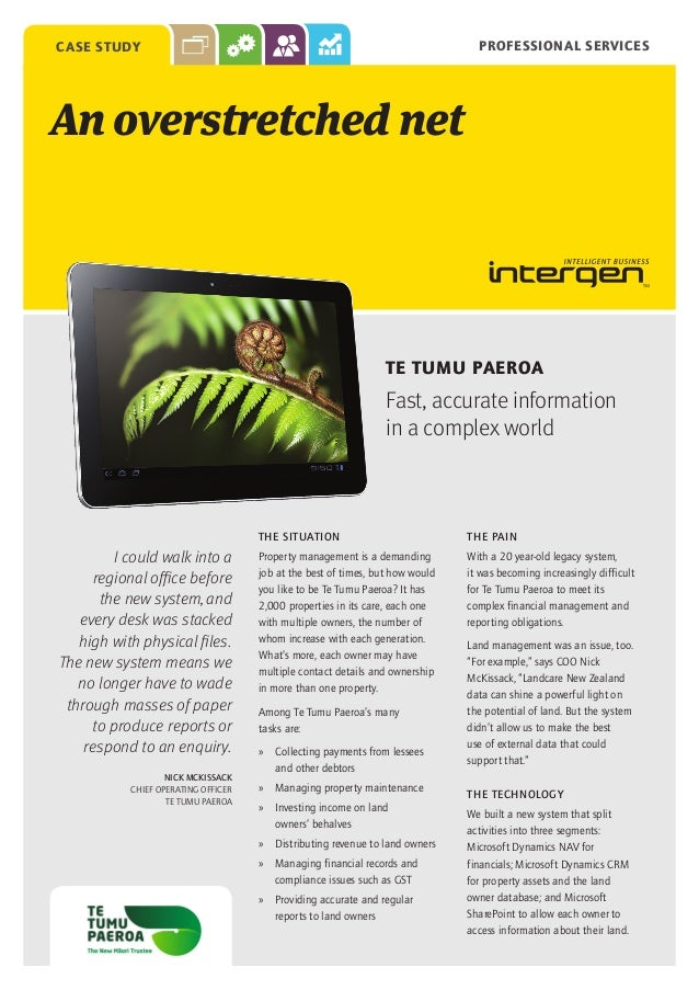 PROFESSIONAL SERVICES  CASE STUDY  An overstretched net  TE TUMU PAEROA  Fast, accurate information in a complex world  TH...