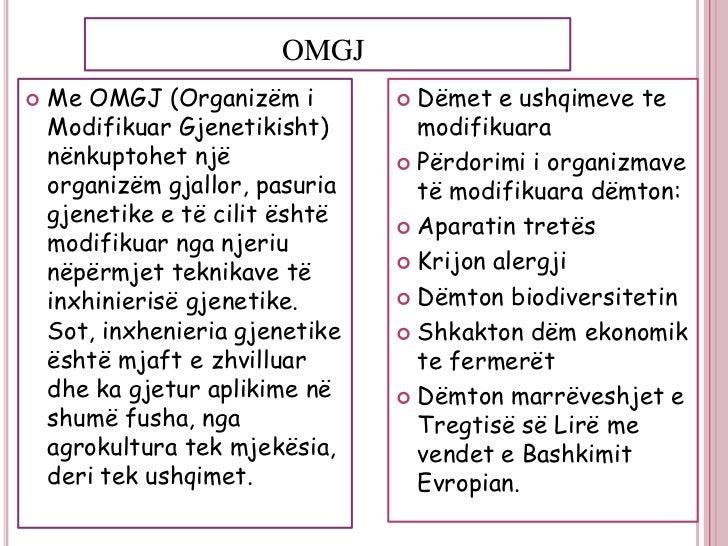 OMGJ   Me OMGJ (Organizëm i          Dëmet e ushqimeve te    Modifikuar Gjenetikisht)       modifikuara    nënkuptohet n...