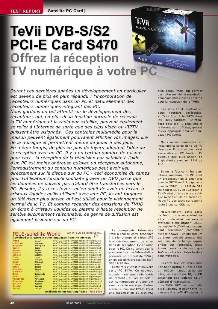 TEST REPORT                       Satellite PC Card     TeVii DVB-S/S2 PCI-E Card S470 Offrez la réception TV numérique à ...
