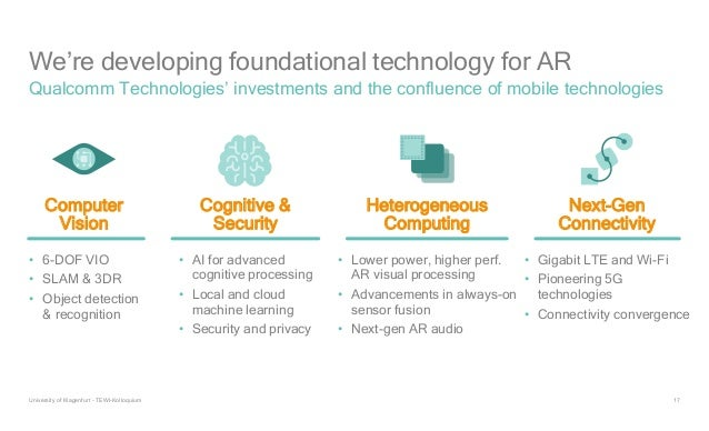 17 We're developing foundational technology for AR Qualcomm Technologies' investments and the confluence of mobile technol...