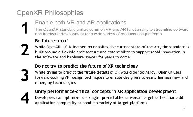 35 OpenXR Philosophies Enable both VR and AR applications The OpenXR standard unified common VR and AR functionality to st...