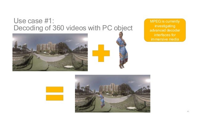 42 Use case #1: Decoding of 360 videos with PC object MPEG is currently investigating advanced decoder interfaces for imme...