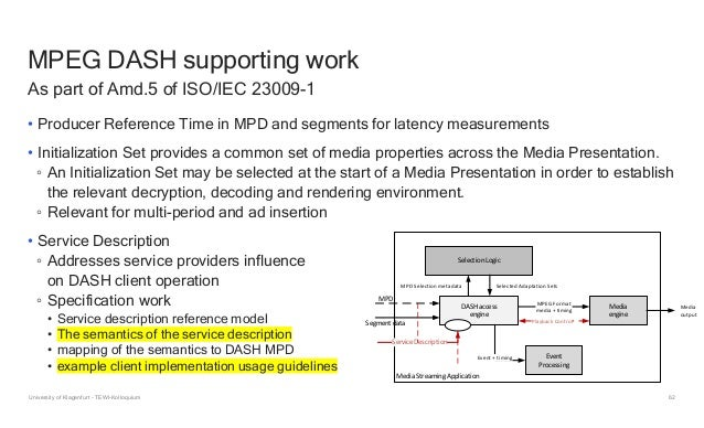 62 MPEG DASH supporting work • Producer Reference Time in MPD and segments for latency measurements • Initialization Set p...