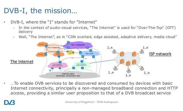 """DVB-I, the mission… • DVB-I, where the """"I"""" stands for """"Internet"""" – In the context of audio-visual services, """"The Internet""""..."""