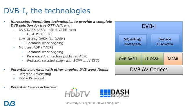 DVB-I, the technologies • Harnessing foundation technologies to provide a complete DVB solution for live OTT delivery: – D...