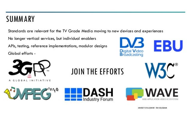 Standards are relevant for the TV Grade Media moving to new devices and experiences No longer vertical services, but indiv...