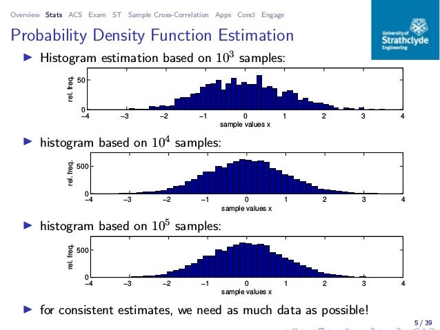 Overview Stats ACS Exam ST Sample Cross-Correlation Apps Concl Engage Probability Density Function Estimation ◮ Histogram ...