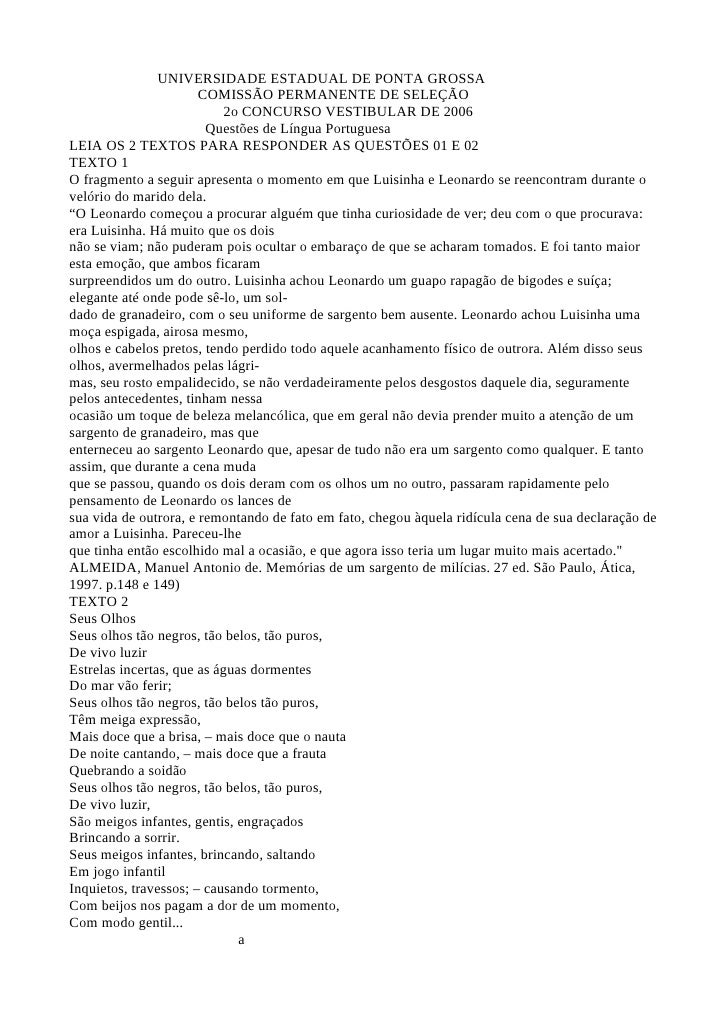 UNIVERSIDADE ESTADUAL DE PONTA GROSSA                       COMISSÃO PERMANENTE DE SELEÇÃO                            2o C...