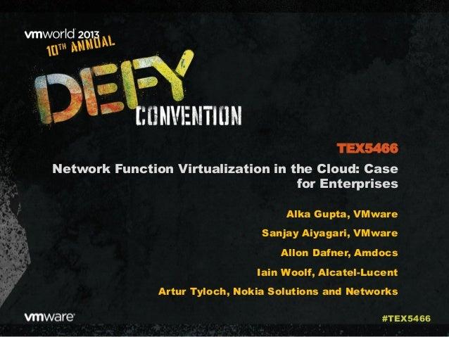 Network Function Virtualization in the Cloud: Case for Enterprises Alka Gupta, VMware Sanjay Aiyagari, VMware Allon Dafner...