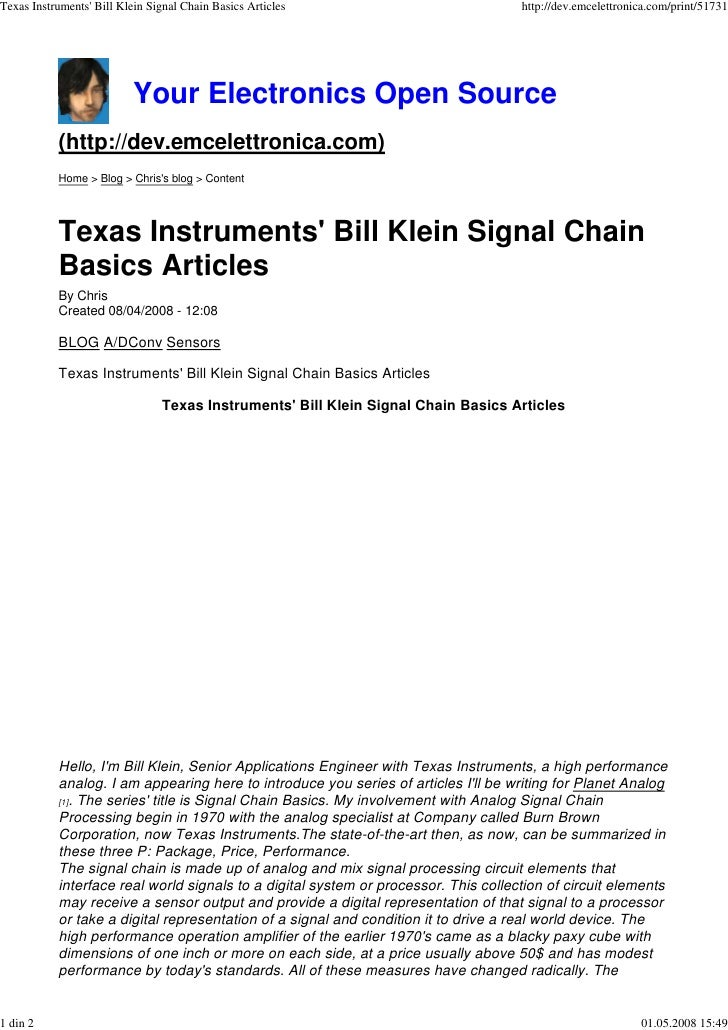 Texas Instruments' Bill Klein Signal Chain Basics Articles                           http://dev.emcelettronica.com/print/5...
