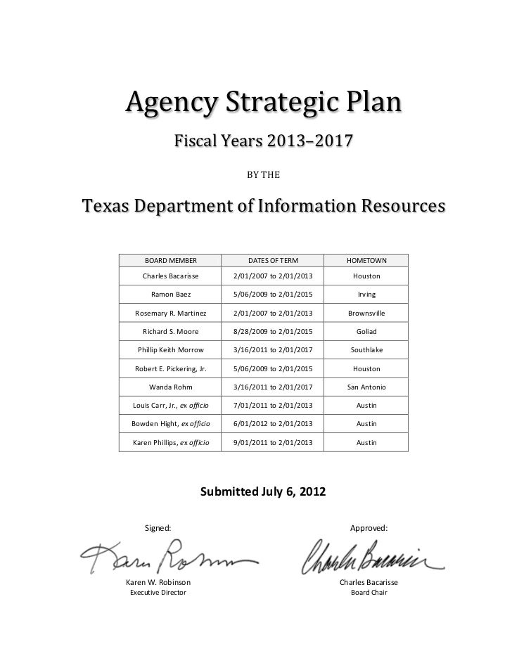 Agency Strategic Plan                   Fiscal Years 2013–2017                                      BY THETexas Department...