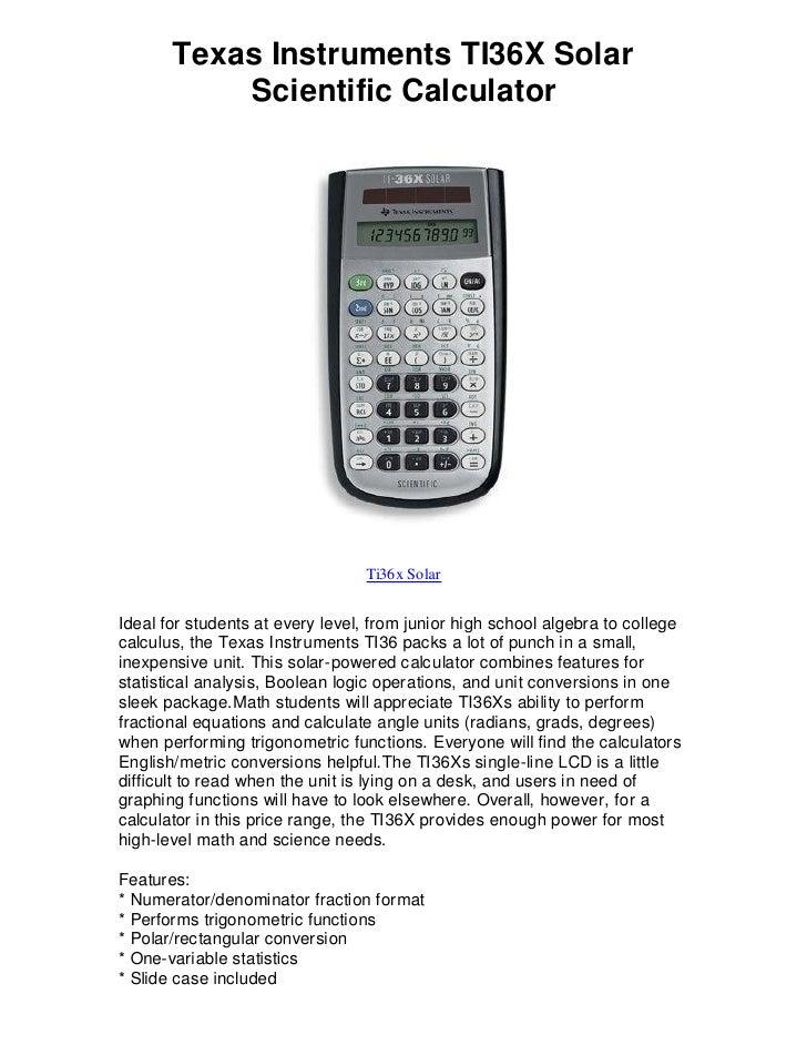 Texas instruments ti36 x solar scientific calculator find ebays bes…