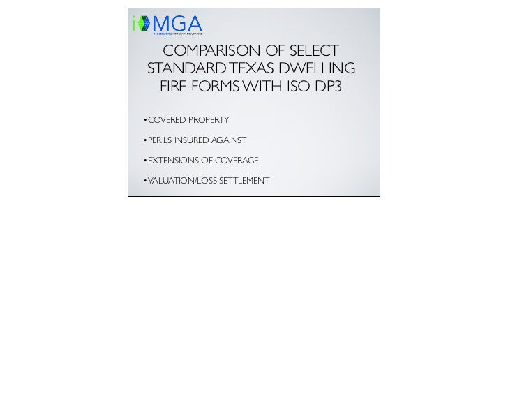 Texas and ISO Dwelling Fire Comparison presentation with notes