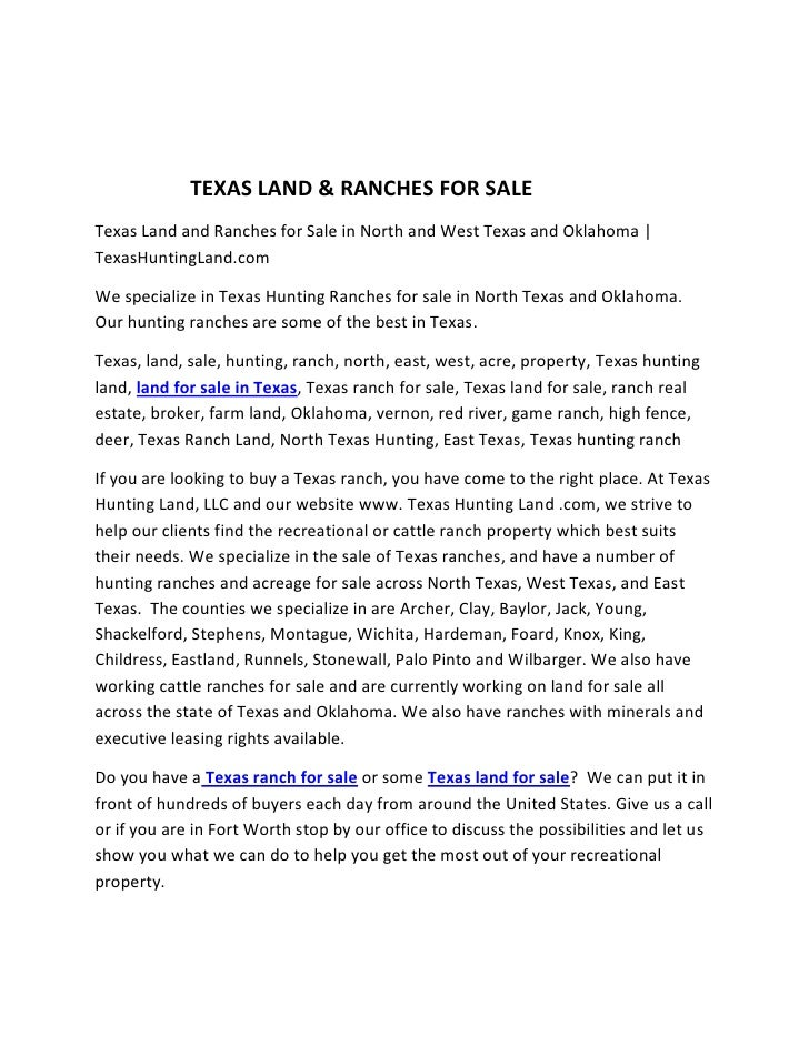 Texas land & ranches for sale