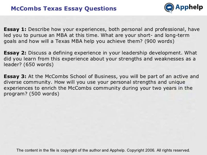 austin mccombs mba essays B-school essay mba admission  the mccombs school of business offers a full time mba mccombs is also the oldest  university of texas austin (mccombs) .