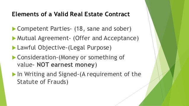 Elements Of A Valid Real Estate Contract