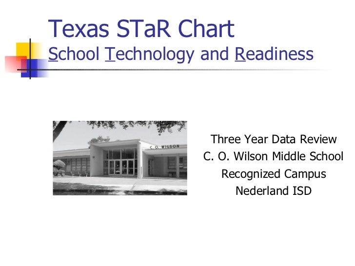 Texas STaR Chart S chool  T echnology and  R eadiness <ul><li>Three Year Data Review </li></ul><ul><li>C. O. Wilson Middle...