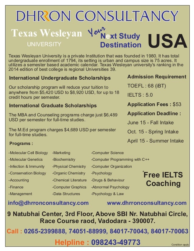 r ouNext Study Texas Wesleyan Y UNIVERSITY  USA  Destination  Texas Wesleyan University is a private Institution that was ...