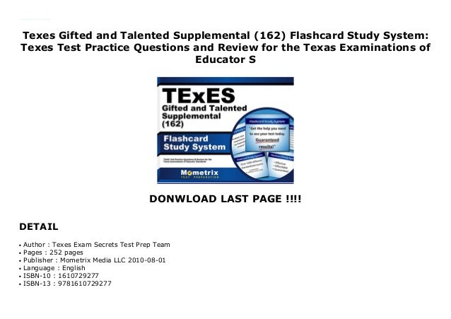 Texes Gifted and Talented Supplemental (162) Flashcard Study System: Texes Test Practice Questions ...
