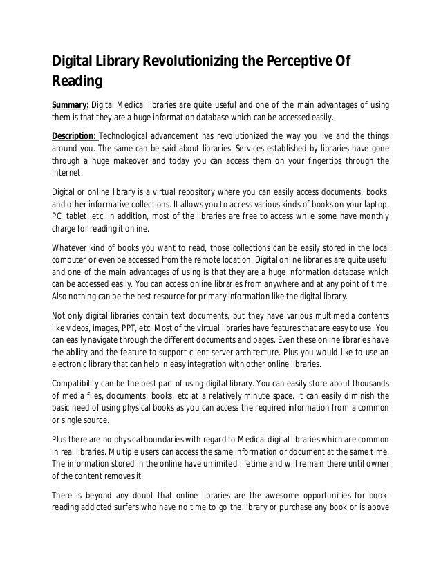 Digital Library Revolutionizing the Perceptive Of Reading
