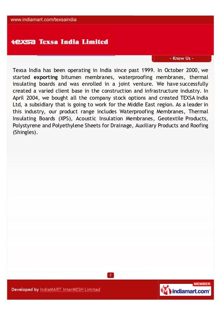 Texsa India Limited, Gurgaon,  insulating boards Slide 2