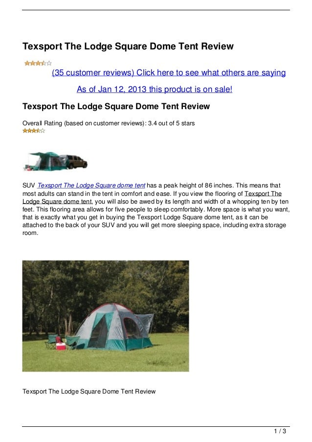 Texsport The Lodge Square Dome Tent Review (35 customer reviews) Click here to see ...  sc 1 st  SlideShare & texsport-the-lodge-square-dome-tent-review-1-638.jpg?cbu003d1357978046