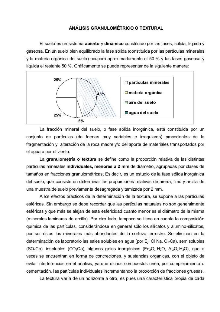 ANÁLISIS GRANULOMÉTRICO O TEXTURAL       El suelo es un sistema abierto y dinámico constituido por las fases, sólida, líqu...
