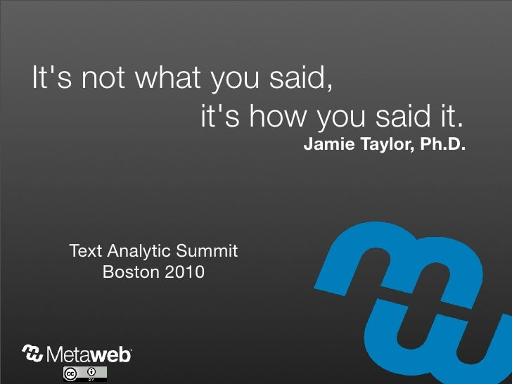 It's not what you said,              it's how you said it.                          Jamie Taylor, Ph.D.       Text Analyti...