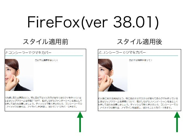 FireFox(ver 38.01) スタイル適用前 スタイル適用後