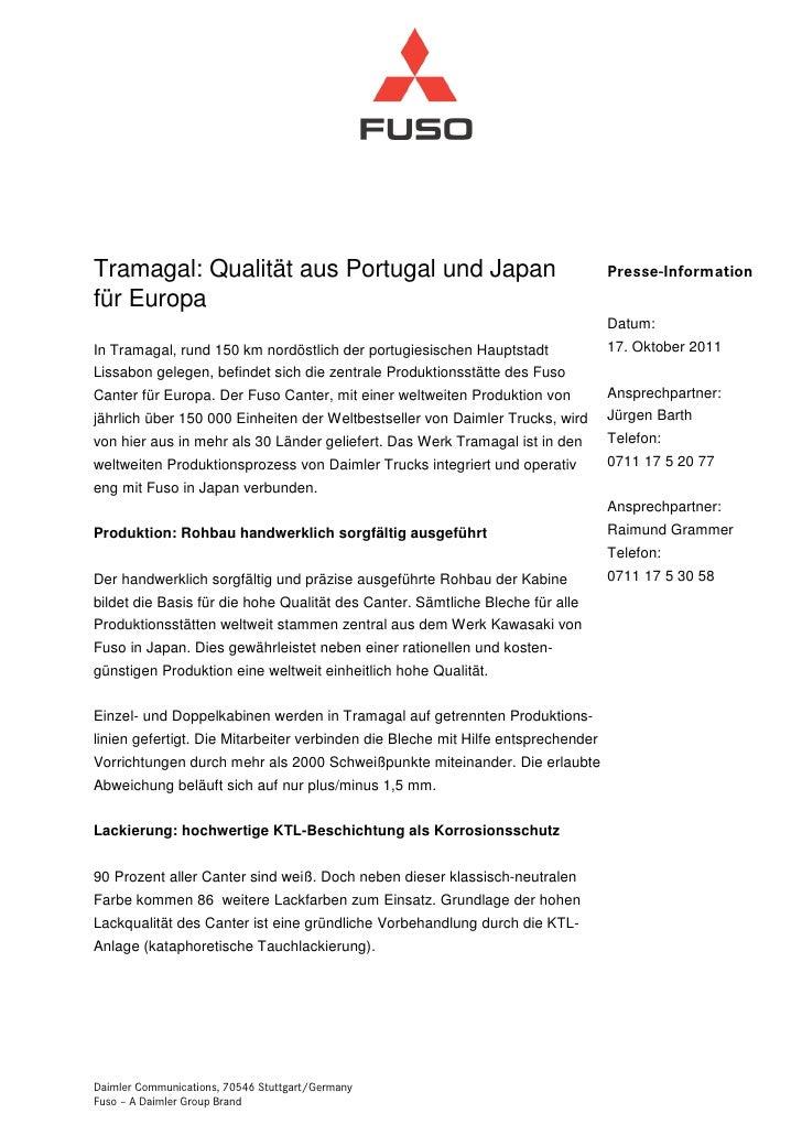 Tramagal: Qualität aus Portugal und Japan                                         Presse-Informationfür Europa            ...