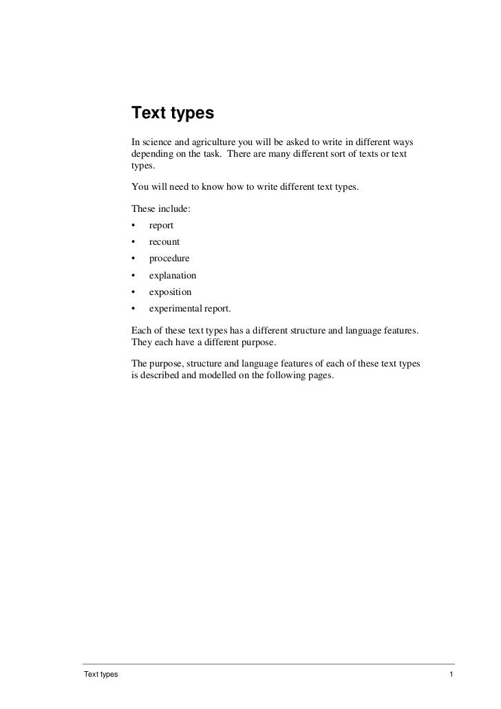 Text types              In science and agriculture you will be asked to write in different ways              depending on ...