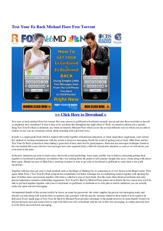 text your ex back michael fiore free torrent click here to download