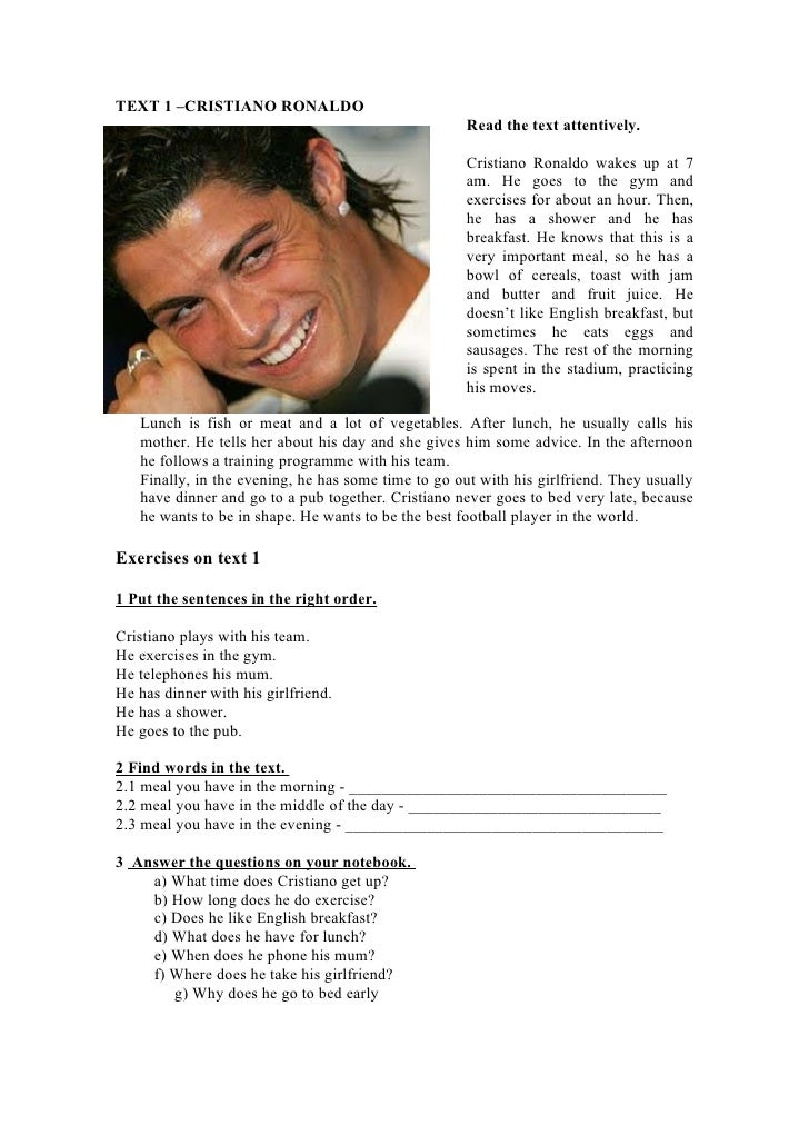 TEXT 1 –CRISTIANO RONALDO                                                      Read the text attentively.                 ...