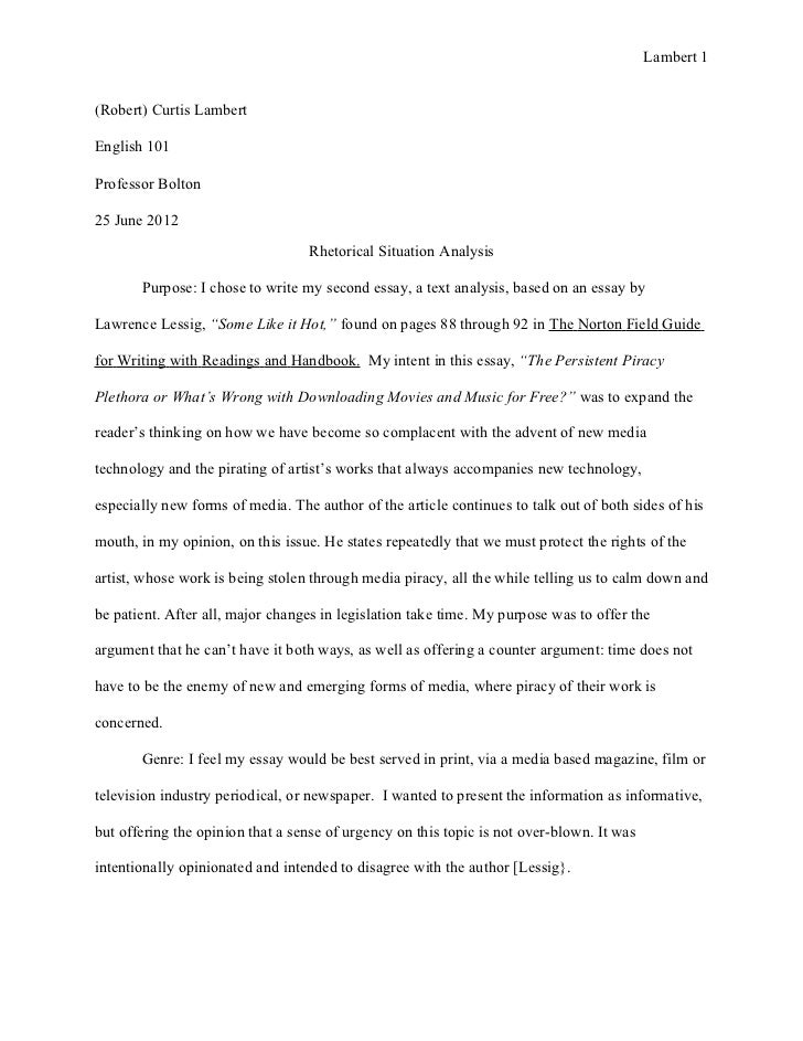 Essay Thesis Statement Generator Lambert Robert Curtis Lambertenglish Professor Bolton June   Importance Of English Essay also Persuasive Essay Paper Text Analysis Essay  Rhetorical Situation And Research  June  Essay On Science And Technology