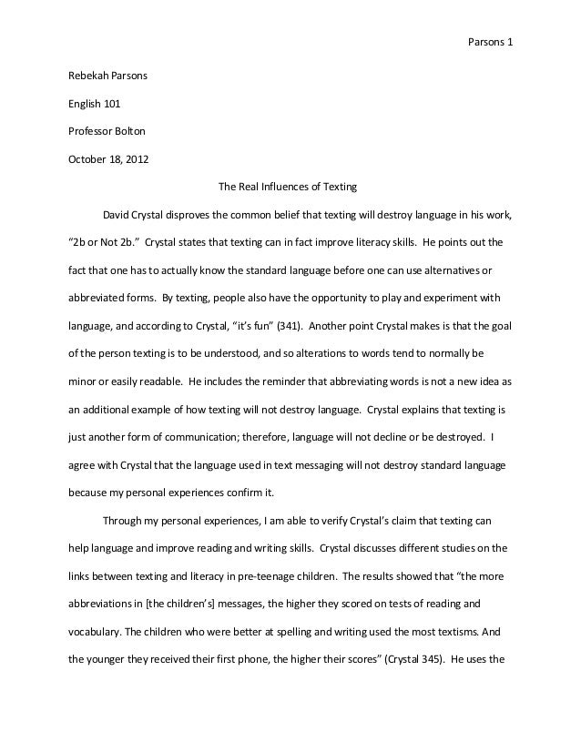 Othello Essay Thesis Text Analysis Essay Revised Parsons Rebekah Parsonsenglish Professor  Boltonoctober   Essay On The Yellow Wallpaper also Science In Daily Life Essay Text Analysis Essay Revised Exemplification Essay Thesis