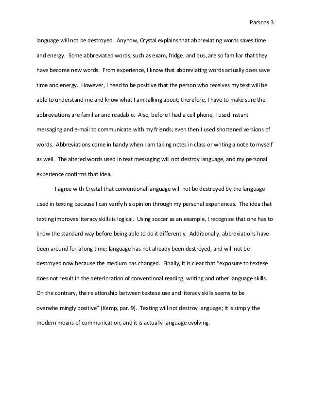 argumentative essay on text messaging