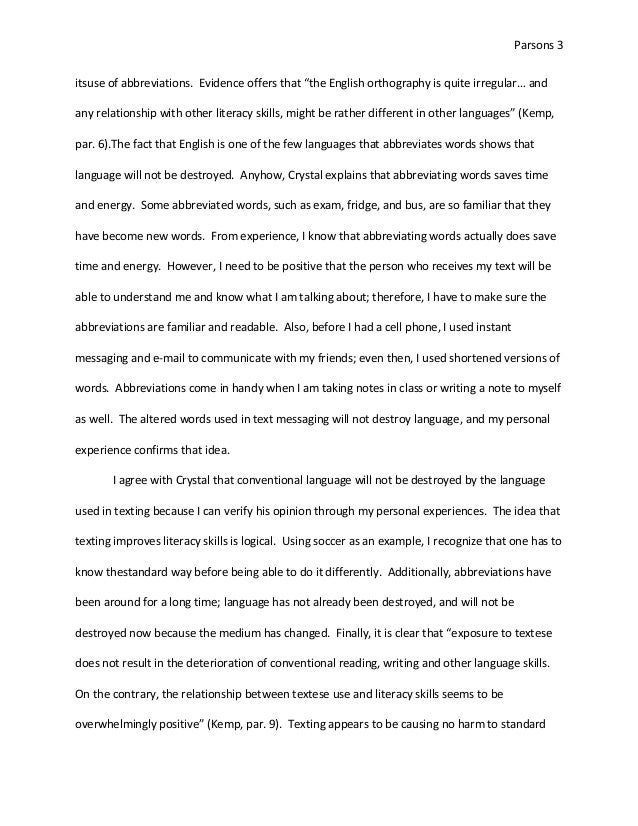 Text messiaging essay