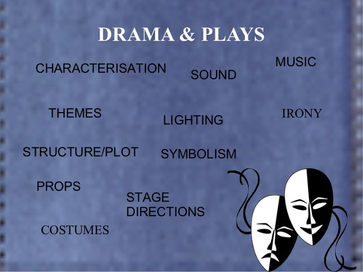 DRAMA & PLAYS CHARACTERISATION THEMES STRUCTURE/PLOT PROPS COSTUMES SOUND MUSIC LIGHTING IRONY STAGE  DIRECTIONS SYMBOLISM