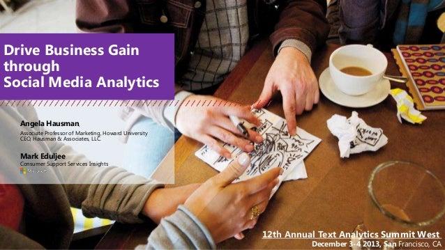 Drive Business Gain through Social Media Analytics Angela Hausman, Associate Professor of Marketing, Howard University CEO...