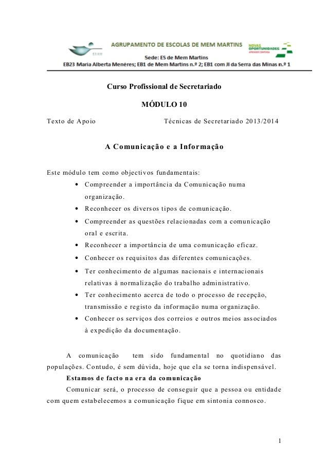Curso Profissional de Secretariado MÓDULO 10 Texto de Apoio  Técnicas de Secretariado 2013/2014  A Comunicação e a Informa...